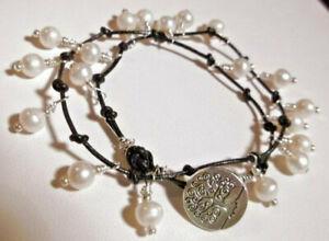 White Pearl & Leather Double Wrap Bracelet Tree of Life Silver * Sundance Arti