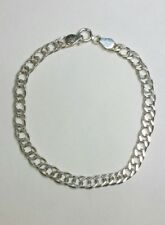 7 3/4'' Sterling Silver Italy 925 Cuban 5mm Link Chain Rhodium Plated