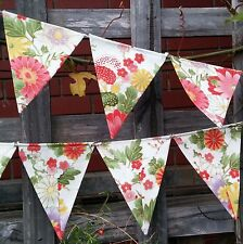 Oriental floral bunting -  cream flags or banner for child's bedroom, garden