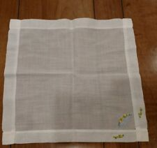Vintage Handkerchief with Yellow Flowers in a Blue Basket - Dainty