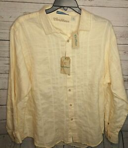CARIBBEAN ROUNDTREE & YORKE MEN'S SZ XL LINEN LS SHIRT $80 LIGHT YELLOW