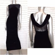 SCOTT MCCLINTOCK Size 10 Black Velvet Sheath Maxi Dress Sleeveless Sheer Back