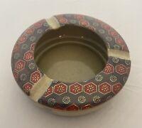 Vintage Japanese Kutani Ashtray Bowl Art Pottery Japan Blue, Gold, Red