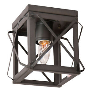Irvin's Country Tinware Single Ceiling Light with Folded Bars in Kettle Black