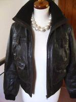 Ladies M&S AUTOGRAPH brown real leather JACKET COAT size UK 14 12 biker bomber