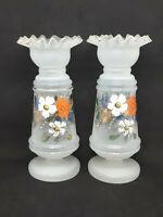 Pair Of Bristol White Opaque Glass Vases Hand Painted Flowers Ruffle Top