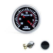 "2"" 52mm Pointer LED Auto Car Vacuum Gauge -30~0 IN.HG Pressure Meter Black Face"