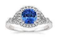Real 1.60 Ct Round Diamond Blue Sapphire 18K White Gold Gemstone Ring Size M N