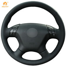 Black Genuine Leather Steering Wheel Cover Wrap for Honda Accord 7 2004-2007