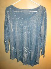 Women's LUCKY BRAND Long Sleeve Supima Cotton Burnout Blouse LARGE. Blue FLORAL
