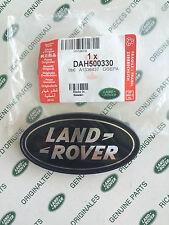 LAND ROVER LOGO REAR BODY OVAL BADGE - BLACK ON SILVER - NEW OEM PART# DAH500330