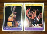 1988/89 Fleer #66 A.C Green and #70 James Worthy - Lakers