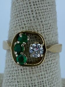 Ladies' Natural Emerald and Diamond 14k Gold Ring