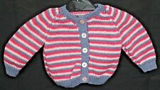Hand Knitted Baby Cardigan in Purple pink and Dark Pink Stripes. 3-6 Months