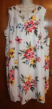 OLD NAVY Plus 2X SLEEVELESS SWING DRESS (knee-length; white floral; lace-up) NEW