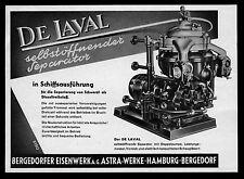 Reklame 1953 De Laval selbstöffnender Separator Bergedorfer Eisenwerk Astra-Werk