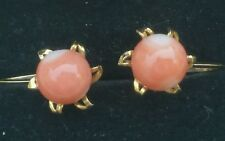 Vintage 18K Yellow Gold Coral Earrings/Gold Coral earrings/18k Gold Earrings