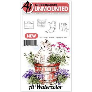 WATERCOLOR Rustic Container Unmounted Rubber Stamp Set ART IMPRESSIONS 4871 New