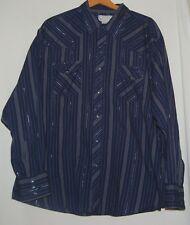 Vintage 70s Western Denim Jean Wrangler Wrancher Shirt Snap Top 2X Blouse Silver