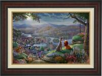 Thomas Kinkade Studios Lady and the Tramp Falling In Love 24 x 36 A/P # 1 Framed