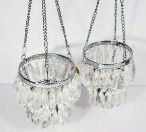 Clear Acrylic Crystal Hanging Jewels Tea light Candle Hanging Holder Decor set 2