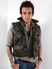 MENS VINTAGE GREEN QUILTED CAMOURFLAGE BODY WARMER GILET JACKET S