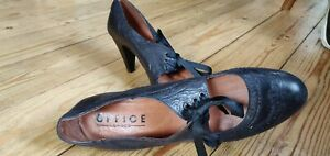 Office of London Leather Court Brogue Heels size 71/2 EU42 FLAPPER 20'S STYLE
