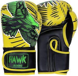 Hawk Boxing Gloves for Men & Women Pro Kickboxing Gloves Sparring Heavy Bag Trai