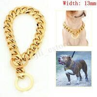 13mm Dog Chain Collar Solid 316L Stainless Steel Gold Punk Cuban Design 14-26''