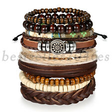 9pcs Brown Leather Wooden Beaded Tribal Wristband Bracelet Set for Men Women
