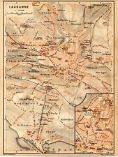 Stampa antica LOSANNA Lousanne Svizzera Pianta 1905 Old Print Switzerland