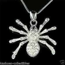 w Swarovski Crystal Halloween Toxic Sexy Black Widow Spider Pendant Necklace NEW