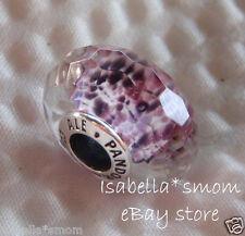 NEW Authentic PANDORA Faceted SEA GLASS Purple MURANO Glass Charm~Bead 791608