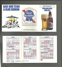 Philadelphia  PHILLIES   1981  Schedule - tri-fold -  Pabst Blue Ribbon Beer   .