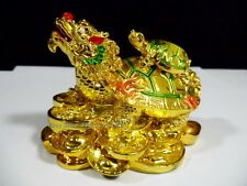 FENG SHUI ORIENTAL CHINESE GOOD FORTUNE TURTLE DRAGON HEAD BABY LUCKY STATUE #W