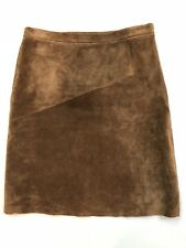 Women's BCBG MAX AZRIA Sz 2 Solid Brown 100% Leather Lined Side Zip Skirt