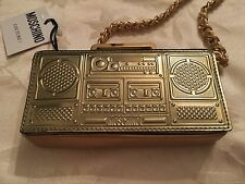 SS15 Moschino Couture Jeremy Scott Barbie Gold Mini Boombox Stereo Shoulder Bag