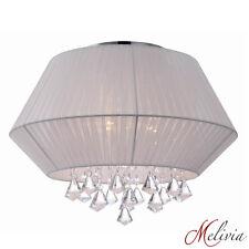 Deckenlampe Weiß Stoff Geriffelt Ø45cm Deckenleuchte Rund Kristall Hängelampe