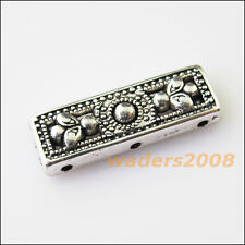 6 New 3Holes Flower Bars Connectors Charms Tibetan Silver Spacer Beads 9x26mm
