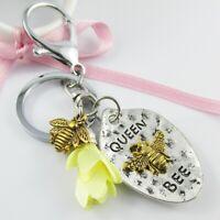 Queen Bee Charm Flower Tassel Keychain Keyring