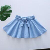 Toddler Kids Denim Skirt Girls Children Bowknot Casual Dress Clothes Denim Skirt