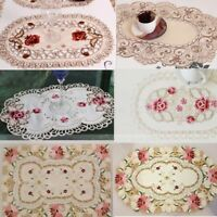 Xmas Placemat Embroidered Flower Coasters Table Fabric Cutwork Doily Desktop Mat