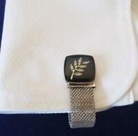 Freemasonry Masonic Black Cufflinks with Chrome Chain Strap
