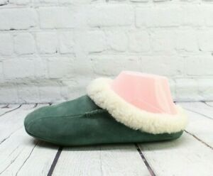 Unbranded Women's Green Suede Shearling Lined Wicked Good Slippers Size 6 M