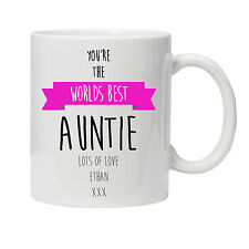 Personalised Worlds Best Auntie Mug - Ideal Birthday Gift - Various Colours