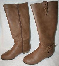 Women's Boots Knee-High Zipper Brown Khaki Riding Style By Machi Carison Sz 5.5