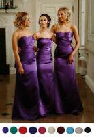 Satin Strapless Bridesmaid Wedding Dress Ballgown Wedding Evening Maxi Party