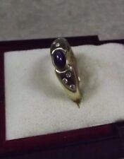 D15-83/ eleganter Ring in 585 Gelbgold Saphir Cabochon kl. Diamanten Gr. ca. 57