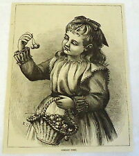 1883 magazine engraving ~ CHERRY TIME, young girl with basket