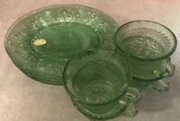 Vintage Set of 4 Tiara Indiana Glass Chantilly Green Sandwich Snack Plate & Cups